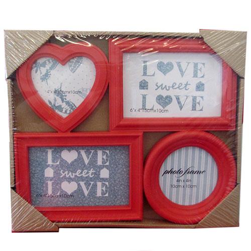 Колажна фото рамка за стена Сърце+Кръг за 4 снимки