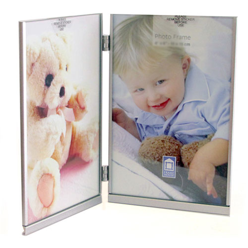Метална фото рамка за две вертикални снимки