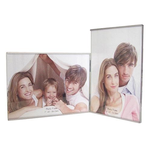 Метална фото рамка за 2 снимки-една вертикална и една хоризонтална снимка