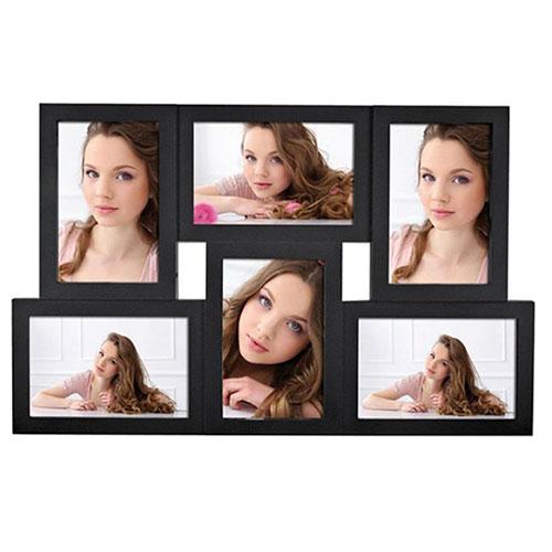 Колажна фото рамка за стена Галерия за 6 снимки-цвят черен